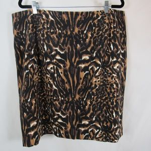 Talbots Plus Size Leopard Print Pencil Skirt 20W